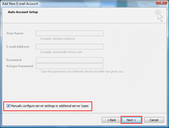 Choose Manually Configure Settings